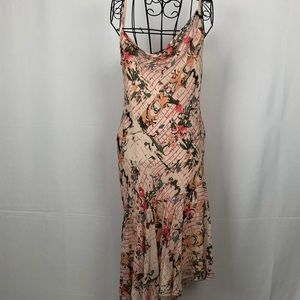 BCBG asymmetric silk midi dress NWT 8P